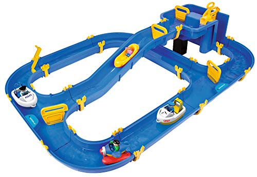 BIG Waterplay Niagara - Wasserbahn blau, 130 x 90 x 22cm große Bahn, mit 3 Booten, Wasserflugzeug und 4 Spielfiguren, 2 Schleusen und Handkurbel zur Wasserregulierung, ab 3 Jahren