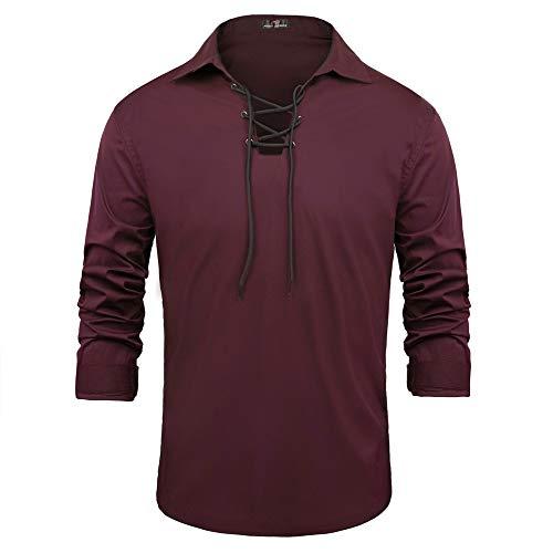 Herren Baumwolle Hemd Revers Langarm Slim Fit Shirt Jacobite Ghillie Kilt Hemd Hippie Lace-up Casual T-Shirt S Weinrot PJAD1007-6