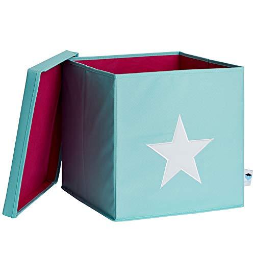 STORE.IT 672265–Caja de almacenaje (con Tapa, Verde Menta con Estrella Blanca, MDF Reforzado, poliéster/MDF, Mint, 33x 33x 33cm