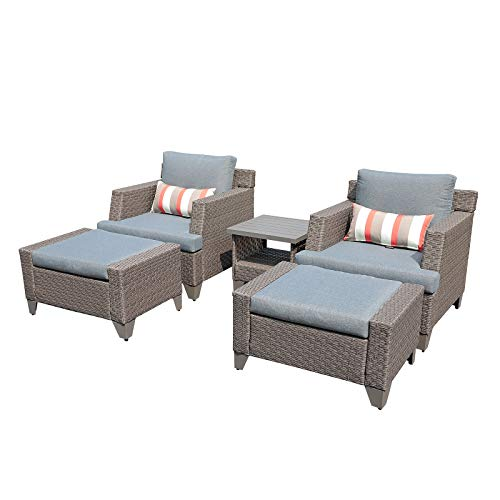 SUNSITT 5-Piece Outdoor Furniture Set PE Wicker Lounge Chair and Ottoman Set with Beige Cushions & Side Table, Waterproof Furniture Cover Included