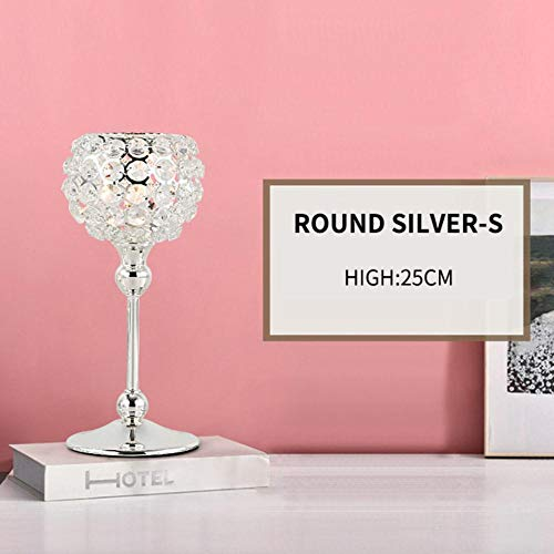 Qingsb Europese Decor kandelaar Single Head Prop Crystal partijen bruiloft kandelaar Centerpieces Center tafel kandelaar ambachten, ronde zilver S