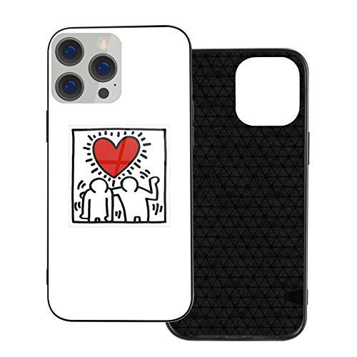 XXUREJK Compatibile con iPhone 7 Plus/8 Plus Custodie Keith Haring Design Vetro temperato Custodie per Telefoni TPU Protezione Antiurto Cover