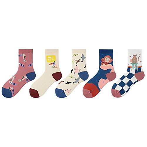 5 paar Womens Sokken Leuke Cartoon Illustratie Mid kousen Schilderen Artiest Dames Sokken Kerstcadeaus voor de winter