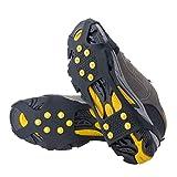 WADEO Crampones Antideslizantes,Cubrezapatos Zapatos de Nieve Crampones Calzas para Hielo Nieve Slip-On Ajuste elástico Picos XL