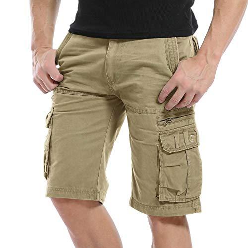 Yidarton Cargo Shorts Herren Kurze Hosen Outdoor Casual Cargo Bermudas Sommer Unifarben/Camouflage (ohne Gürtel), XL-CN 40, Style1-khaki