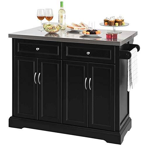 SoBuy Carrello Cucina Mobile dispensa Cucina Mobile credenza con Ruote Piano è allungabile (FKW71-SCH)