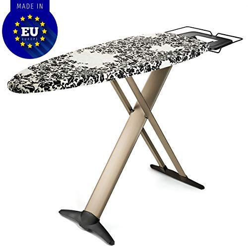 "Bartnelli Pro Luxury Ironing Board - Extra Wide 51x19"" Steam Iron Rest, Adjustable Height, T-Leg Foldable, European Made"