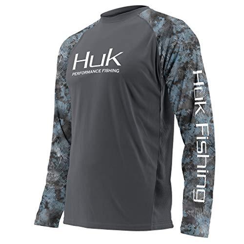Huk Men's Double Header Vented Long Sleeve Shirt, Iron/SubPhantis Glacier, X-Large
