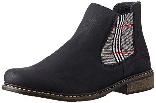 Rieker Damen Z4994 Chelsea Boots, Schwarz Pepita Rot 02, 43 EU