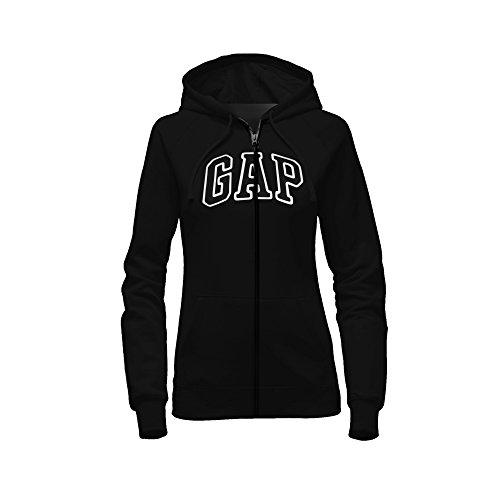 GAP Damen Kapuzenpullover mit durchgehendem Reißverschluss -  Schwarz -  X-Large