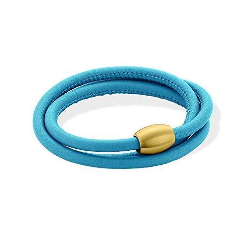 XEN Lederarmband Himmelblau mit Magnetverschluss gelb vergoldet Längen zur Wahl 53