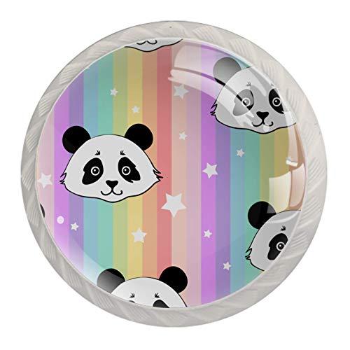 Pomos decorativos redondos para gabinete de cocina, cajones, tocador, 4 unidades, diseño de panda, rayas arcoíris