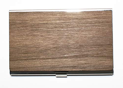 WUDN Unique Professional Business Card Case/Wallet, Premium Stainless Steel Bodied Card Holder Keeps Stunning Condition, Black Walnut