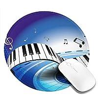 丸型マウスパッド ゲーミングマウスパッド 音符ピアノ鍵プリント おしゃれ オフィス自宅兼用 滑り止めゴム底 耐洗い表面 厚地 精密度アップ 光学式マウス対応 20*20cm 厚さ3mm