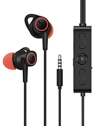 Auriculares con cancelación de Ruido Activa, Auriculares con Cable Dyplay en los oídos con 14 Horas de reproducción en Modo ANC, micrófono MEMS y Chip DAC, Auriculares estéreo de 3,5 mm