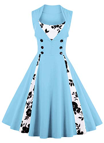 KILLREAL Women's Vintage Floral Print Sleeveless Casual Rockabilly Cocktail Dress Light-Blue-Floral XX-Large