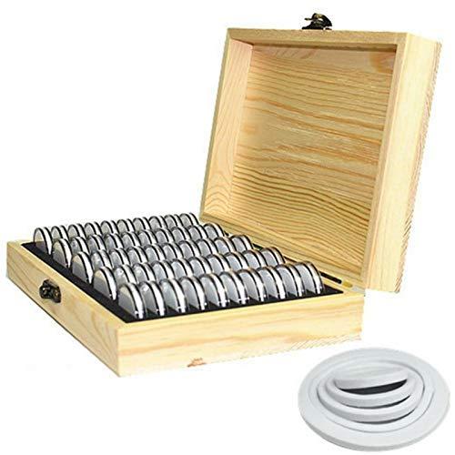 Caja de madera para guardar monedas, caja para monedas con cerradura, contenedor de almacenamiento universal para monedas, para suministros de colección conmemorativa de monedas, cuadrícula 50/100