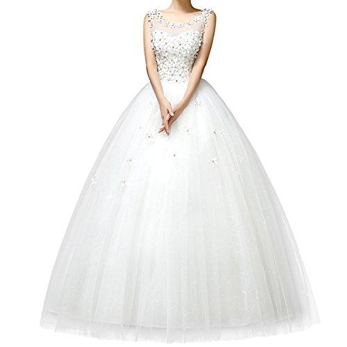 Viktion 2015 - Vestido de novia para mujer, de encaje, espalda descubierta, con flores, elegante, blanco
