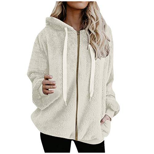 Preisvergleich Produktbild TICOOK Damen Winter Warm Fleece Jacke Kapuze Sweatshirt Reißverschlusstaschen Farbblock Mantel Plus Size Outwear