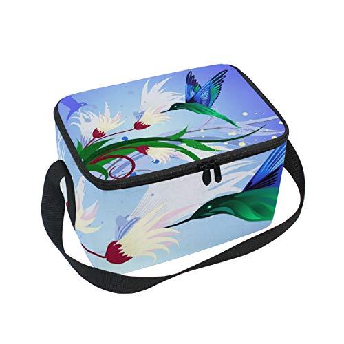 Ahomy Boîte à déjeuner Isotherme Colibri Fleur Sac fourre-Tout Isotherme pour l'extérieur, l'école, Le Bureau, Les boîtes à Repas pour Enfants et Adultes