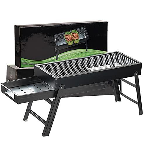 Panjzylds parrilla plegable portátil de carbón de leña para exteriores, ahumador de carbón adecuado para cocinar al aire libre camping picnic 60 x 22 x 33 cm