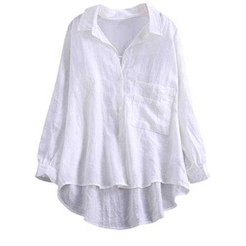 VEMOW Herbst Frühling Sommer Elegante Damen Frauen Stehkragen Langarm Casual Täglichen Party Strand Urlaub Lose Tunika Tops T-Shirt Bluse(X3-Weiß, 42 DE/L CN)