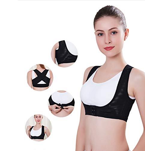 ZPWSNH Unsichtbarer Korrigiergürtel zur Korrektur von Kleidung, Hüpfback-Korrekturgürtel, verbessert mit Bruststütze, Rückenstütze, Schwarz , M