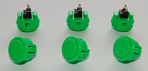 6 pc Set of Green Sanwa Push Buttons OBSF-30-G by Sanwa