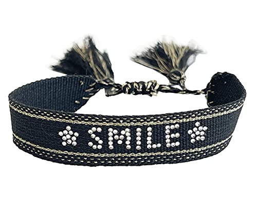 stickerbeauty Damen Herren Unisex STRASS HAPPY Schmuck Freundschaftsarmbänder Stoffarmband Armband Armbänder Stickerei SB070421A3 (Schwarz_Smile)