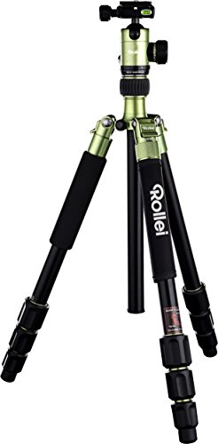 Rollei C5i - kompaktes und leichtes Kamera Stativ aus Aluminium, Umbau zum Einbeinstativ möglich und mit drehbarer Mittelsäule, Arca Swiss kompatibel, inkl. Kugelkopf und Stativtasche - Grün