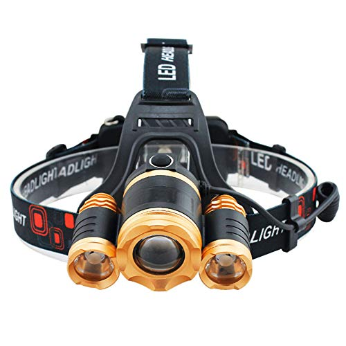 Linterna frontal LED, 15000 lúmenes, sensor LED súper brillante, linterna recargable, resistente al agua, luz de cabeza con zoom para ciclismo, senderismo, camping, senderismo, pesca, lectura nocturna
