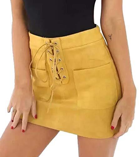 A. M. Sport Minifalda de Mujer Sexy. Falda Efecto Piel de Temporada. (Mostaza) - S