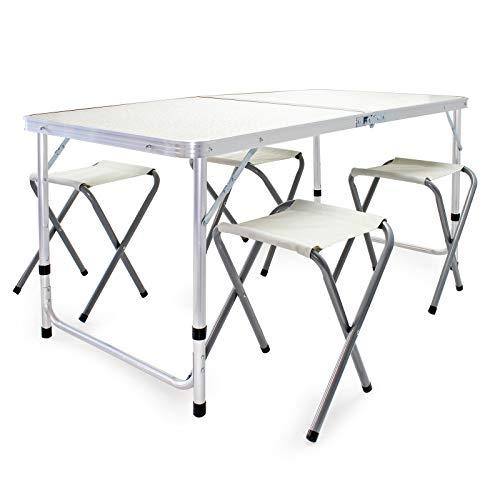 Wiltec Camping Sitzgarnitur Aluminium 5tlg. höhenverstellbarer Tisch mit Vier Stühlen Campingtisch klappbar