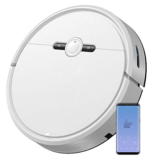 qiangge Robot Vacuum Cleaner,Robot Vacum and Mop Combo(Slim) with Mapping and Lazer Sensors,Self Charging,APP & Alexa Control Google Control,for Pet Hair,Hard Floor Carpet, White