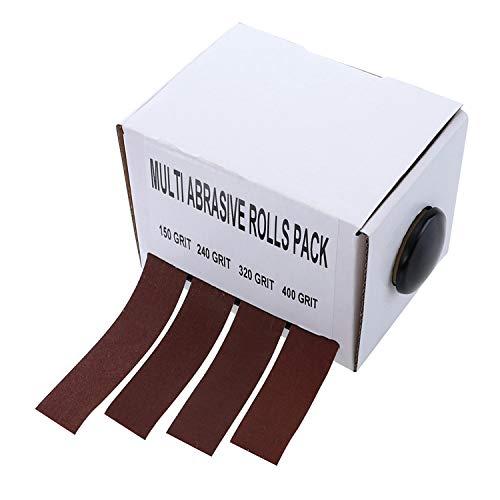 DingGreat 6 Meter Schleifpapier-Rolle, 150/240/320/400 Grit Schleifpapier 4 Rollen Schleifband Drawable Schleifpapier Trockenpolieren Schleifwerkzeuge für Metall Dremel Holzverarbeitung