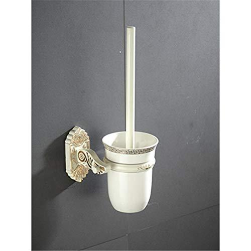 Badkamer plank wc borstel houder zwart/goud aluminium Europese Type retro 3D graveren patroon wc borstel plank mat glas Cup Set Wit1
