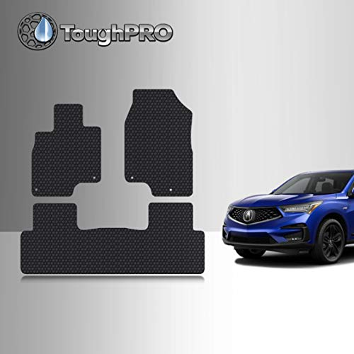 TOUGHPRO Floor Mat Accessories Set Compatible with Acura RDX - All Weather - Heavy Duty - (Made in USA) - Black Rubber - 2019, 2020 (Front Row + 2nd Row)