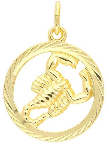 Sternzeichen Anhänger Skorpion (Ohne Kette) Gelbgold 333 Gold (8 Karat) Ø 15mm Rund Tierkreiszeichen Horoskop Sternbild Goldanhänger Gavno A-04433-G302-Sko
