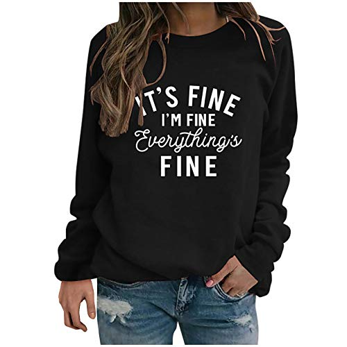 Shirt Luv Women Casual Letter Printed Long Sleeves O-Neck Pullover Sweatshirt Tops (Black M) Winter Fall Clothes for Woman