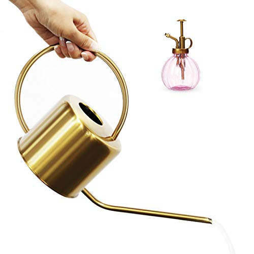 CHERAINTI Watering Can Indoor, Long Spout Watering Can for Outdoor and Indoor Plants, Decorative Gold Colored Watering Can for Bonsai Succulents and Garden, with Plastic Plant Mister (40oz/1.3L)