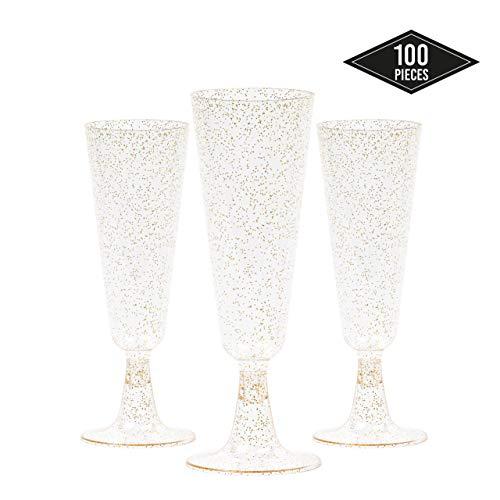 100-Pak Elegante Plastic Champagneglazen met Gouden Glitter, 5 oz / 150 ml - Stevig, Wegwerpbaar en Herbruikbaar - Perfect voor Feesten, Bruiloften, Verjaardagen, Kerstmis, Nieuwjaarsfeesten.