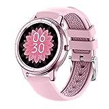 QFSLR Smartwatch,Reloj Inteligente con Pulsómetro, Monitor De Presión Arterial Monitoreo De Oxígeno En Sangre Impermeable IP68 Hombres Y Mujeres Reloj Deportivo para Android iOS,Rosado