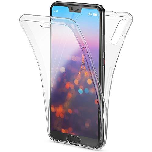 NALIA 360 Grad Handyhülle kompatibel mit Huawei P20, Full-Cover vorne hinten Hülle Doppel-Schutz, Dünn Ganzkörper Case Silikon Etui Handytasche Transparent Displayschutz Rückseite, Farbe:Transparent