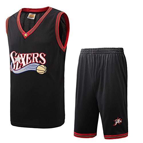 BCGG Camiseta Philadelphia 76ers para niños, Chaleco de básquetbol para niños, Conjunto Retro para fanáticos para niñas Bordado (con Pantalones Cortos) Negro-S