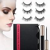 Magnetic False Eyelashes Set with Eyeliner, 3 Pairs of Reusable Multi-Style Natural Magnetic Eyelashes with Eyelash Tweezers (3 Pair)