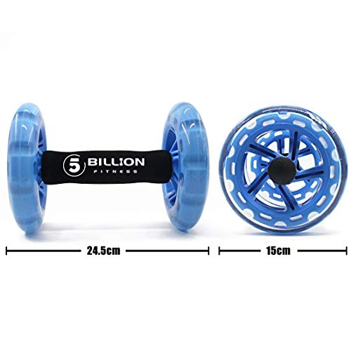 5BILLION AB Wheel Roller - Core Ab Attrezzatura di Allenamento & Esercizio di Doppia Ruota Addominale - Allenamento per ABS, Schiena, Braccia, Spalle, Busto Anca - Include il Tappetino in Ginocchio
