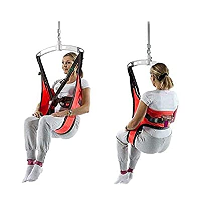 Fushida Patient Sling Support Full Body,Hoyer Lift Slings with Commode Cushion,Medical Transfer Equipment and Multi-Functional Leg Lifter for Bariatric Handicap,RED F124