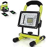 Projecteurs LED 15W, Lampe de Travail Rechargeable, éclairage extérieur Portable avec 2 Ports USB, Support magnétique, Batterie Externe 3600mAh, projecteur étanche IP65
