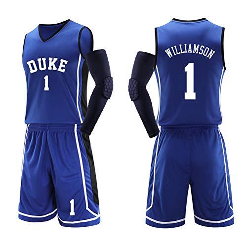 XZM Fan Trikots Junge Duke University Nr. 1 Zion Williamson Mesh Basketball Swingman Trikot, Herren Basketball Trikot Fan neutrales Basketballtraining-blue-5XL