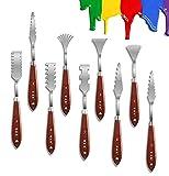 Wuudi juego de 9 cuchillos para pintar, espátulas para pintura al óleo de acero inoxidable, espátula para pintar, espátula para pintura, raspador de pintura con diferentes formas